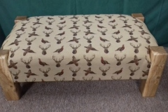 Foot stool with stag and pheasant fabric