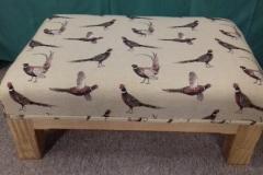 Foot stool White pheasant fabric