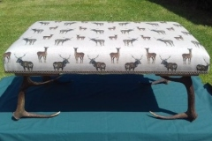 Foot stool White stag fabric and antler legs