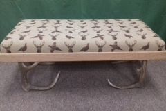 Foot stool White fabric with Stags head and pheasant on antler legs