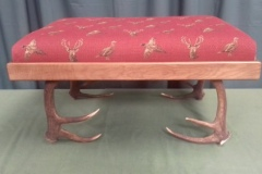 Foot stool Red fabric with Stags head and pheasant on antler legs
