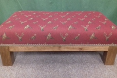 Foot stool Red fabric with Stags head and pheasant on wooden legs